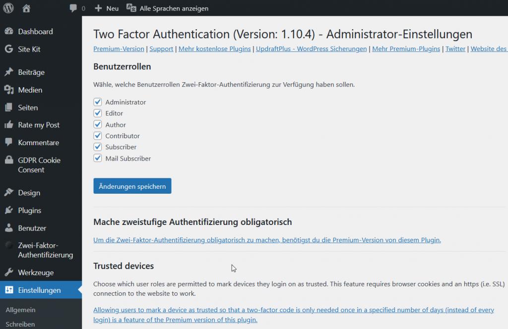 WordPress Plugin Two Factor Authentication Administrator-Einstellungen