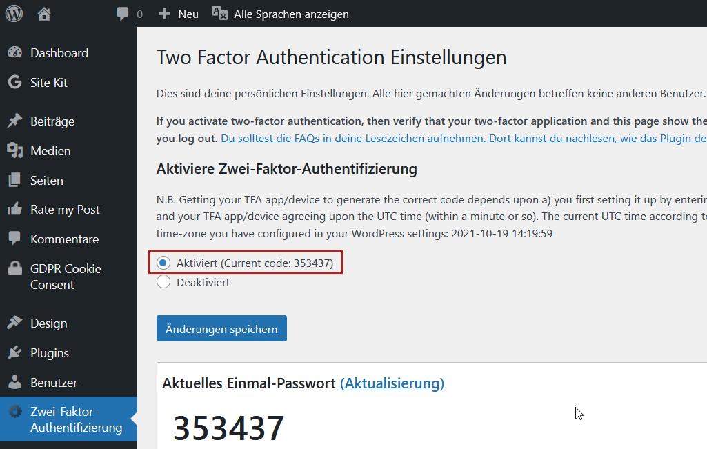 Das WordPress Plugin Two Factor Authentication