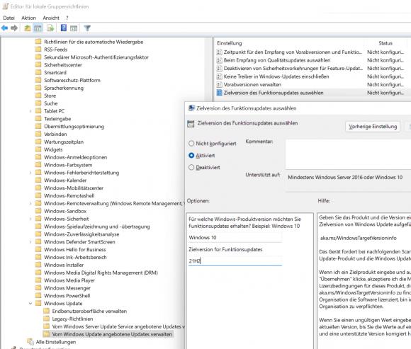 Gruppenrichtlinie, Von Windows Update angebotene Updates verwalten