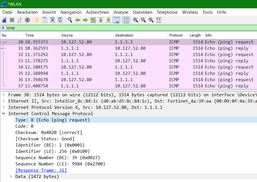 Wireshark ICMP Echo Request