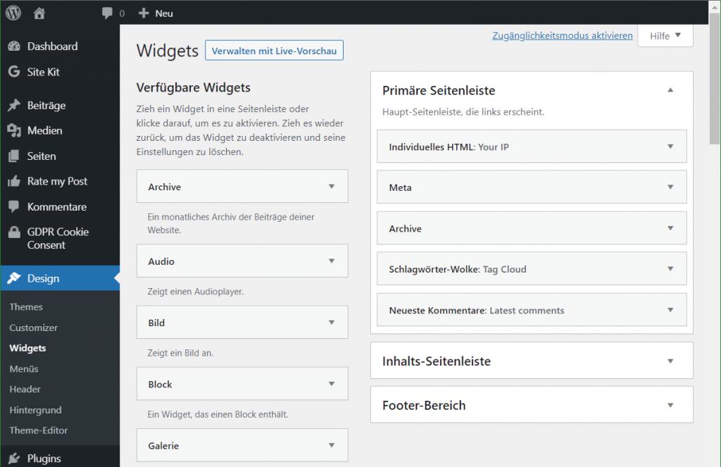 WP Admin editieren mit Classic Widgets